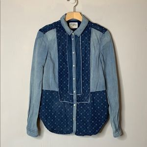 Holding Horses Patchwork Chambray Button-Down Top